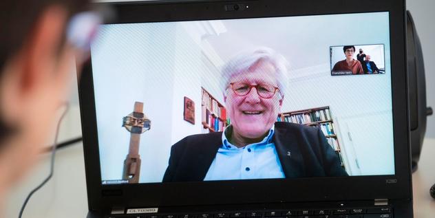 Heinrich Bedford-Strohm während des Video-Interviews mit dem Evangelischen Pressedienst.